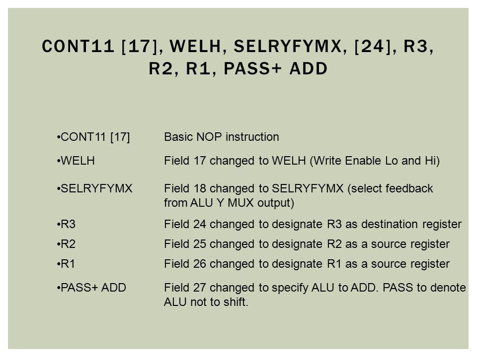 cONT11 [17], welh, selryfymx, [24], r3, r2, r1, pass+ add